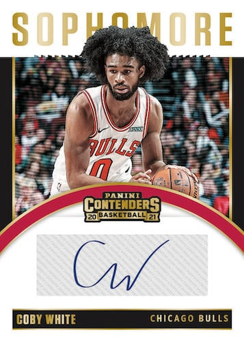 2020 21 Panini Contenders Basketball NBA Cards Sophomore Contenders Autographs Gold Coby White 1