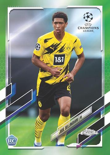 2020 21 Topps Chrome UEFA Champions League Soccer Cards Base Neon Green Refractor Jude Bellingham RC