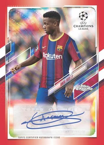 2020 21 Topps Chrome UEFA Champions League Soccer Cards Chrome Autograph Red Wave Refractor Ansu Fati Auto