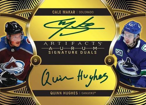2020 21 Upper Deck Artifacts Hockey Cards Aurum Signatures Duals Bounty Achievement Cale Makar Quinn Hughes