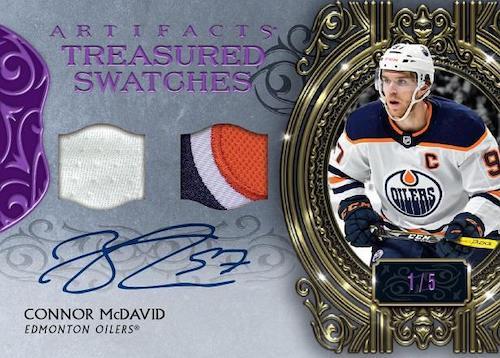 2020 21 Upper Deck Artifacts Hockey Cards Treasured SwatchesDual Swatch Autograph Connor McDavid