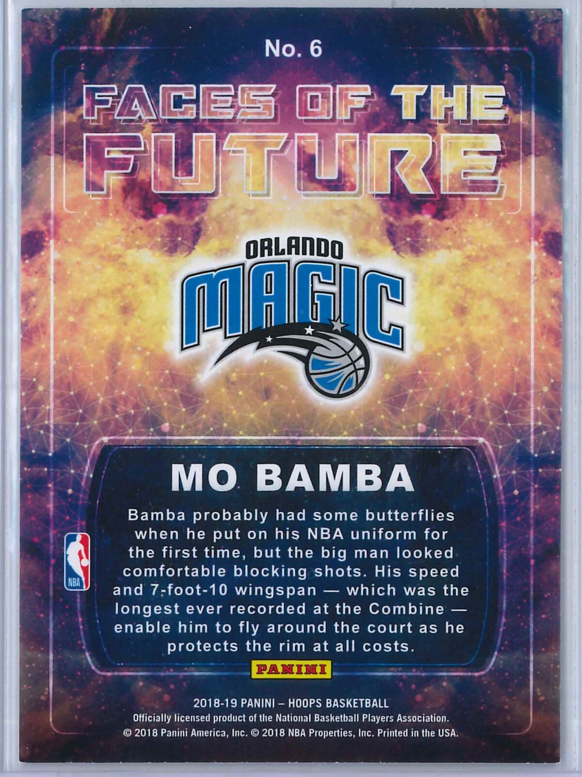 Mo Bamba Panini Hoops Basketball 2018 19 Faces Of The Future Gold Winter 2 scaled