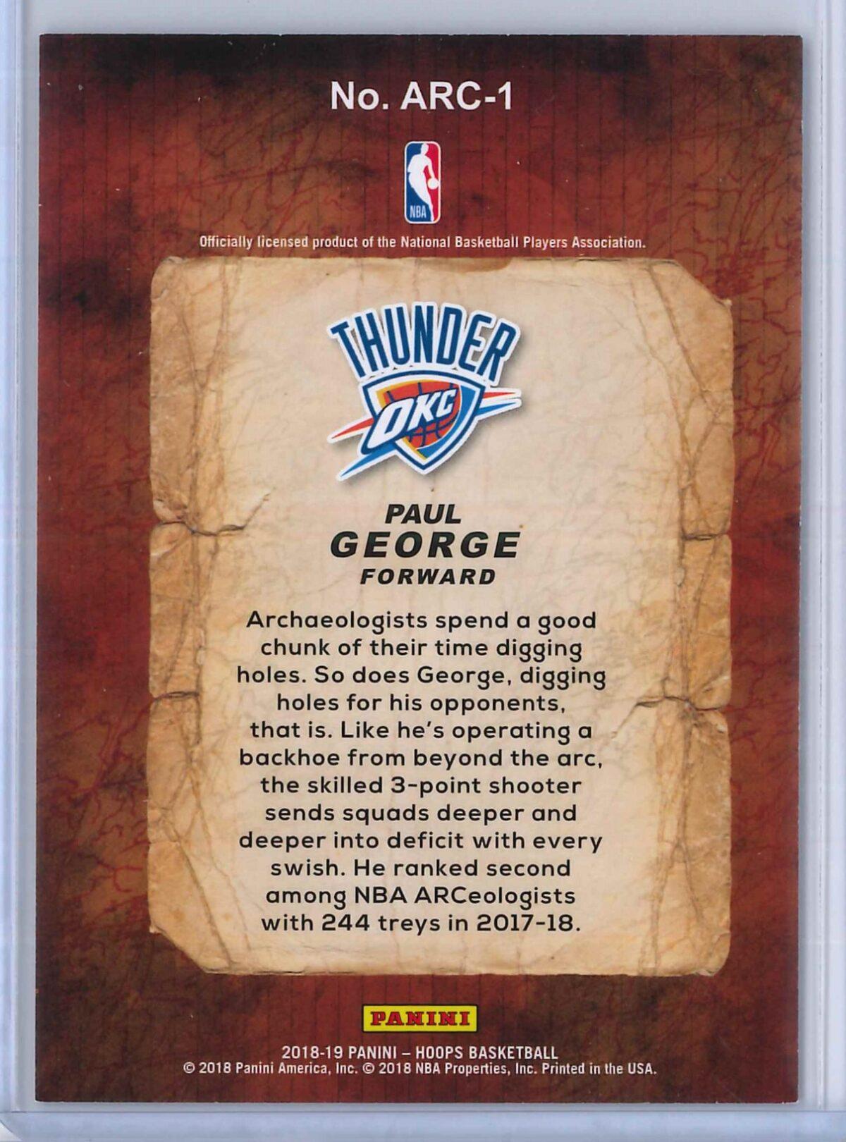 Paul George Panini Hoops Basketball 2018 19 Arceologists 2