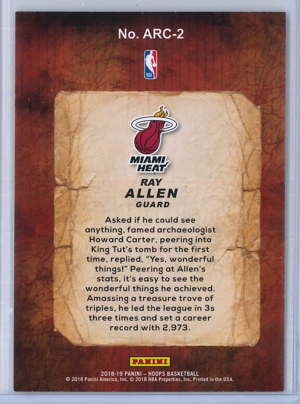 Ray Allen Panini Hoops Basketball 2018 19 Arceologists 2