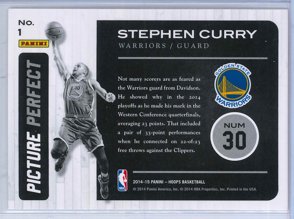Stephen Curry Panini Hoops Basketball 2014 15 Picture Perfect 2