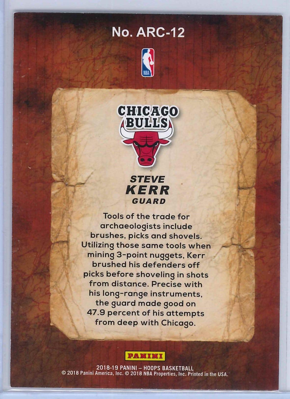 Steve Kerr Panini Hoops Basketball 2018 19 Arceologists 2