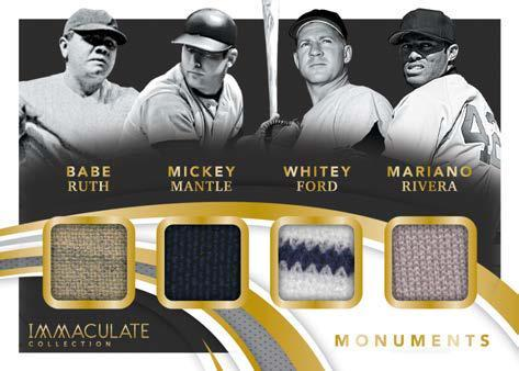 2021 Panini Immaculate Collection Baseball Cards Monuments Quad Relic Ruth Mantle