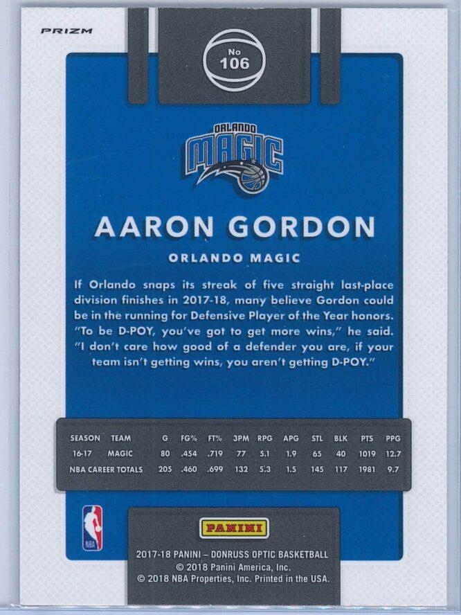 Aaron Gordon Panini Donruss Optic Basketball 2017 18 Fast Break Holo 2