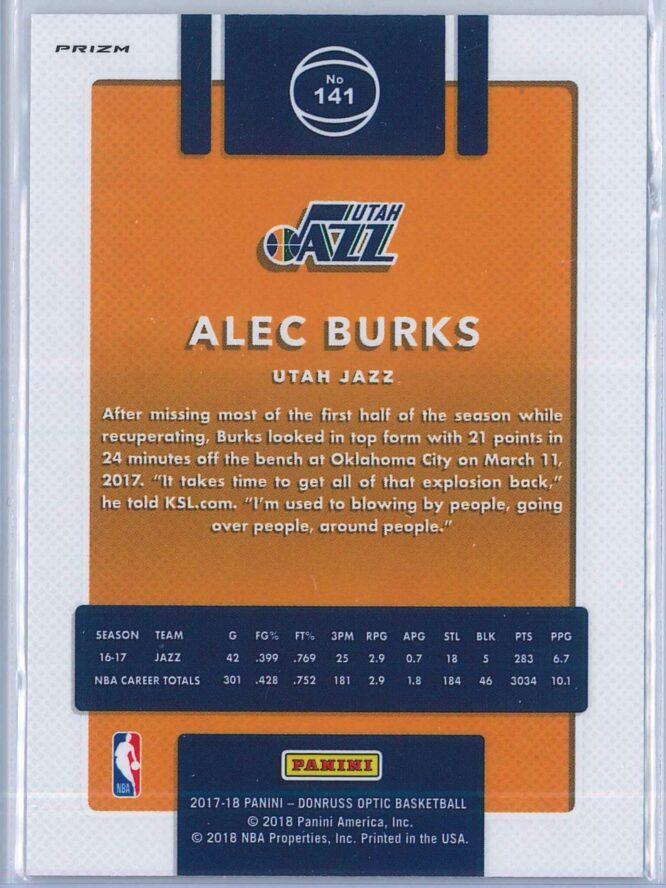 Alec Burks Panini Donruss Optic Basketball 2017 18 Fast Break Holo 2