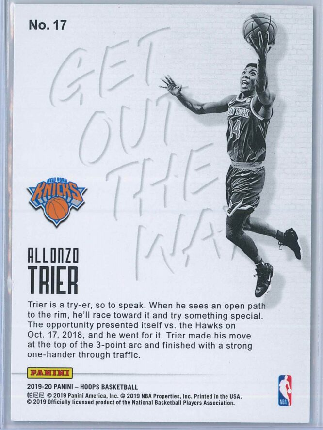 Allonzo Trier Panini NBA Hoops Basketball 2019 20 Get Out The Way 2