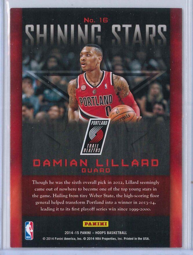 Damian Lillard Panini NBA Hoops 2014 15 Shining Stars Gold 2