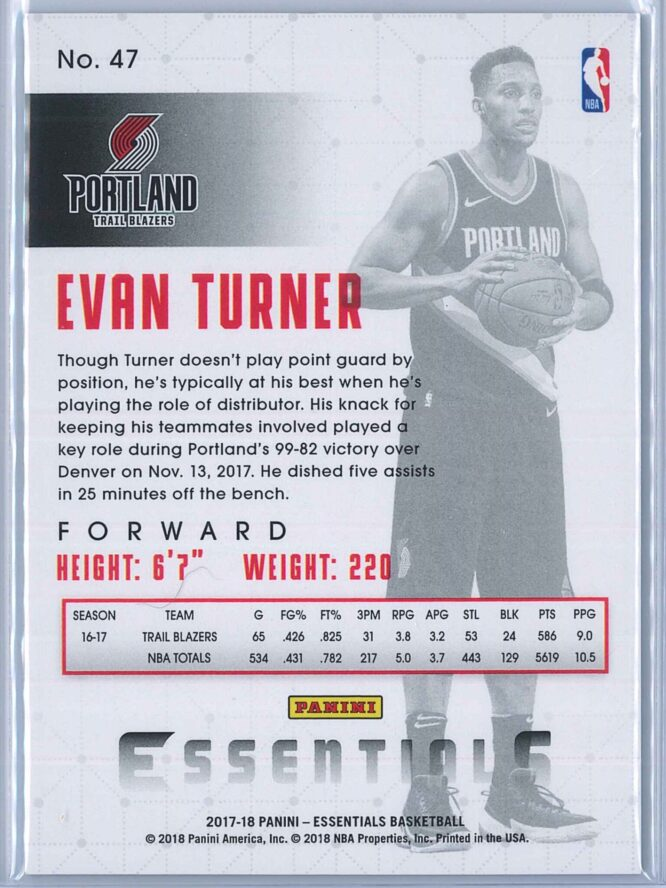Evan Turner Panini Essentials 2017 18 Spiral 2