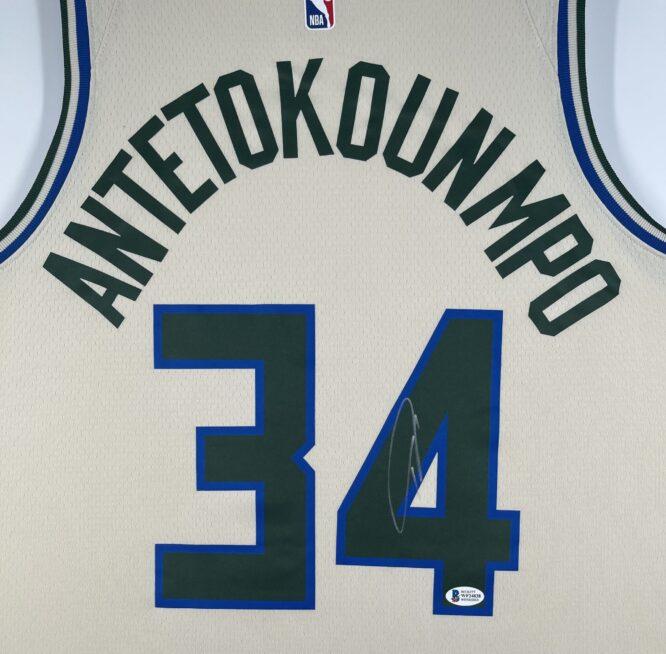 Giannis Antetokounmpo Authentic Signed 2019 Milwaukee Bucks Nike City Edition Swingman Jersey BAS WF24838 2