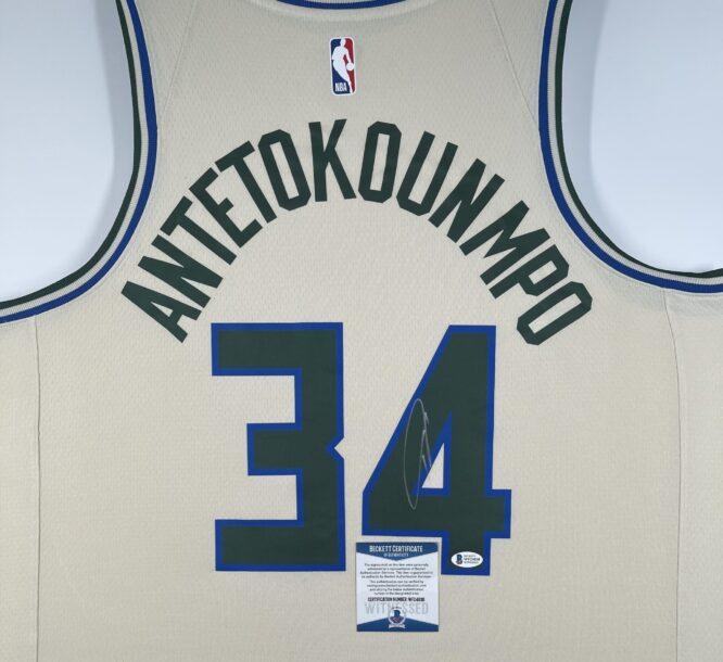 Giannis Antetokounmpo Authentic Signed 2019 Milwaukee Bucks Nike City Edition Swingman Jersey BAS WF24838 3