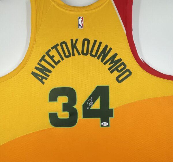 Giannis Antetokounmpo Authentic Signed 2019 Milwaukee Bucks Nike City Edition Swingman Jersey [BAS WF24839]
