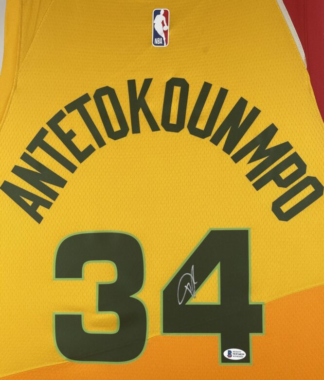 Giannis Antetokounmpo Authentic Signed 2019 Milwaukee Bucks Nike City Edition Swingman Jersey BAS WF24839 2