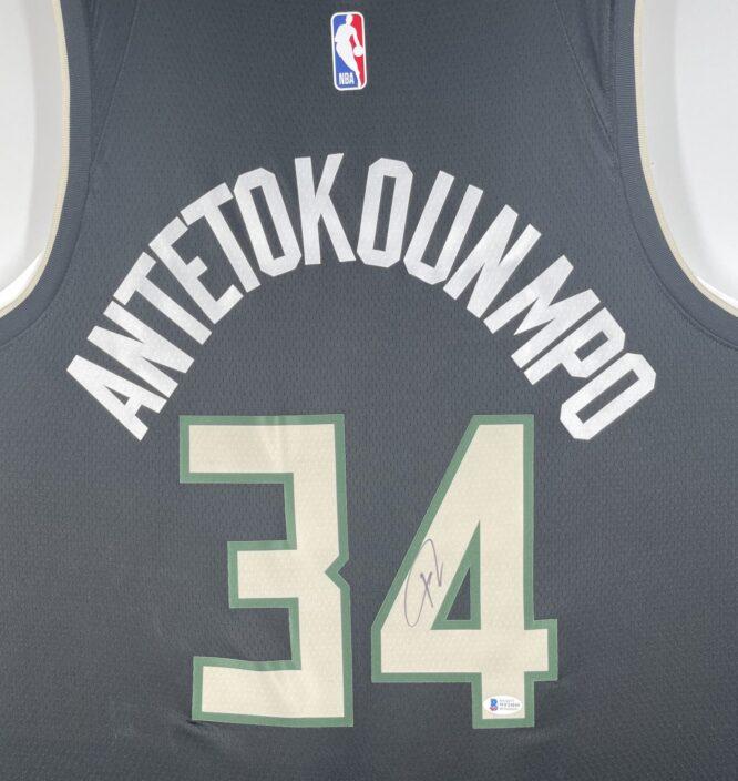Giannis Antetokounmpo Authentic Signed 2021 Milwaukee Bucks Nike Icon Swingman Jersey BAS WF24840 2