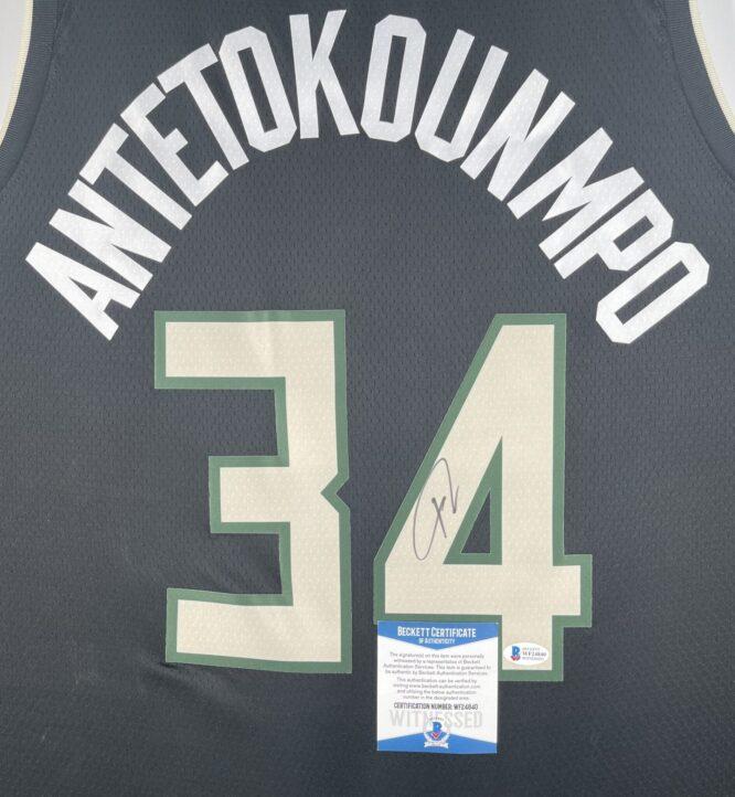 Giannis Antetokounmpo Authentic Signed 2021 Milwaukee Bucks Nike Icon Swingman Jersey BAS WF24840 3