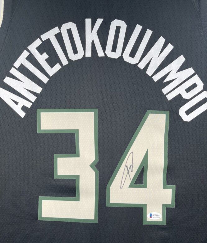 Giannis Antetokounmpo Authentic Signed 2021 Milwaukee Bucks Nike Icon Swingman Jersey BAS WF24841 2