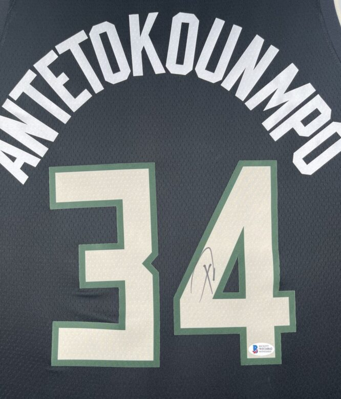 Giannis Antetokounmpo Authentic Signed 2021 Milwaukee Bucks Nike Icon Swingman Jersey BAS WF24842 2