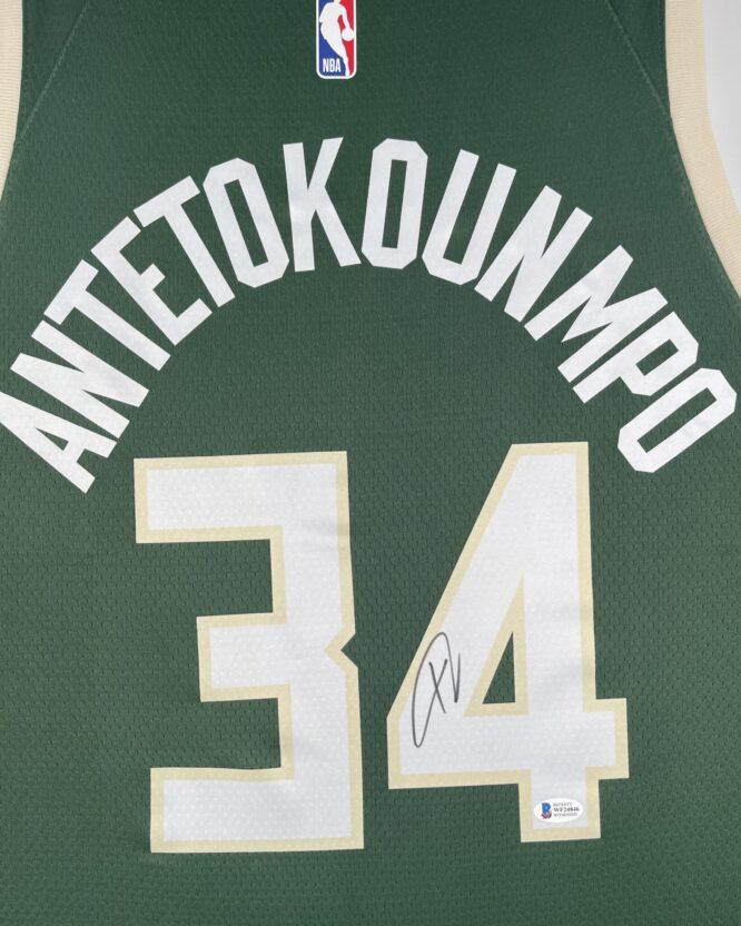 Giannis Antetokounmpo Authentic Signed 2021 Milwaukee Bucks Nike Icon Swingman Jersey BAS WF24846 3