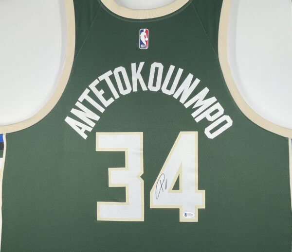Giannis Antetokounmpo Authentic Signed 2021 Milwaukee Bucks Nike Icon Swingman Jersey BAS WF24846 4