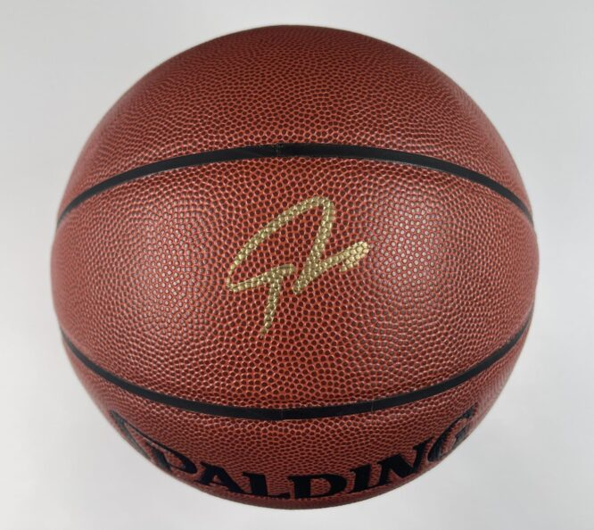 Giannis Antetokounmpo Milwaukee Bucks Authentic Signed Brown Spalding Basketball w Gold Signature BAS WH10738 1