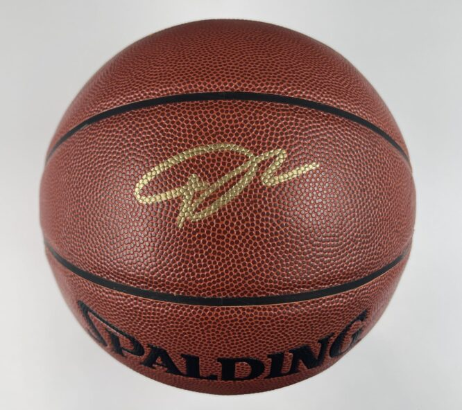 Giannis Antetokounmpo Milwaukee Bucks Authentic Signed Brown Spalding Basketball w Gold Signature BAS WH10740 1