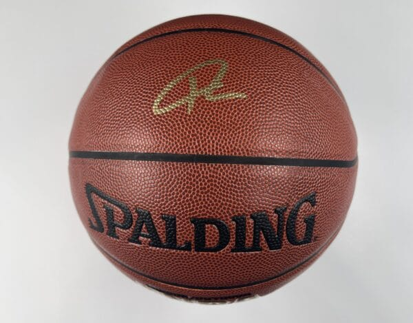 Giannis Antetokounmpo Milwaukee Bucks Authentic Signed Brown Spalding Basketball w Gold Signature BAS WH10746 1