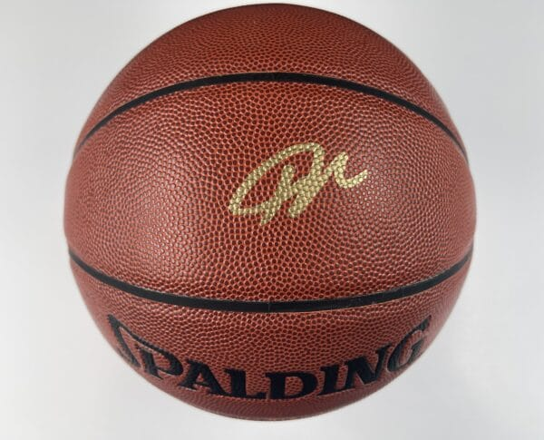 Giannis Antetokounmpo Milwaukee Bucks Authentic Signed Brown Spalding Basketball w Gold Signature BAS WH10747 1