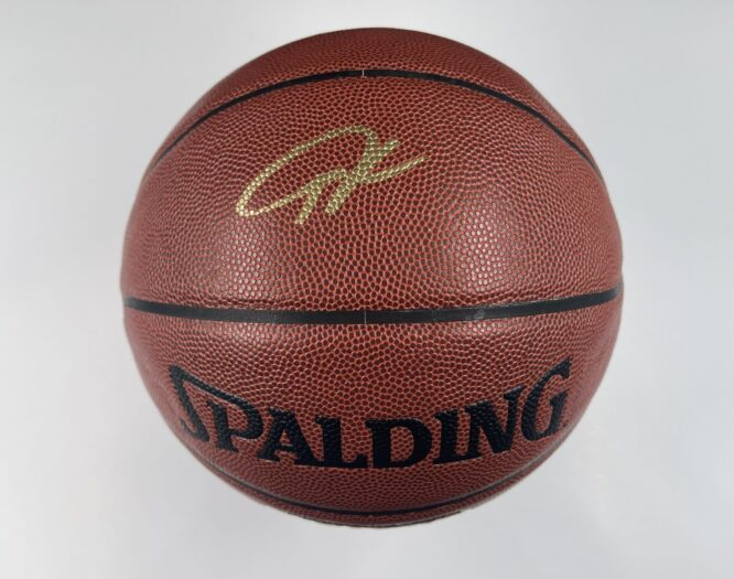 Giannis Antetokounmpo Milwaukee Bucks Authentic Signed Brown Spalding Basketball w Gold Signature BAS WH10749 1