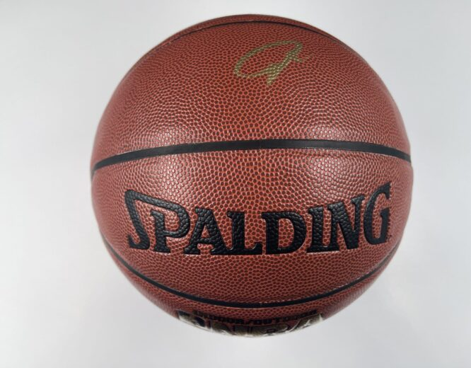 Giannis Antetokounmpo Milwaukee Bucks Authentic Signed Brown Spalding Basketball w Gold Signature BAS WH10753 1