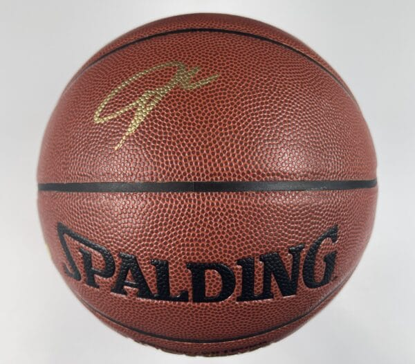Giannis Antetokounmpo Milwaukee Bucks Authentic Signed Brown Spalding Basketball w Gold Signature BAS WH10759 1