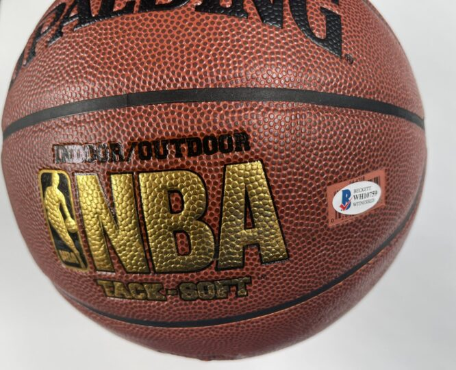 Giannis Antetokounmpo Milwaukee Bucks Authentic Signed Brown Spalding Basketball w Gold Signature BAS WH10759 2