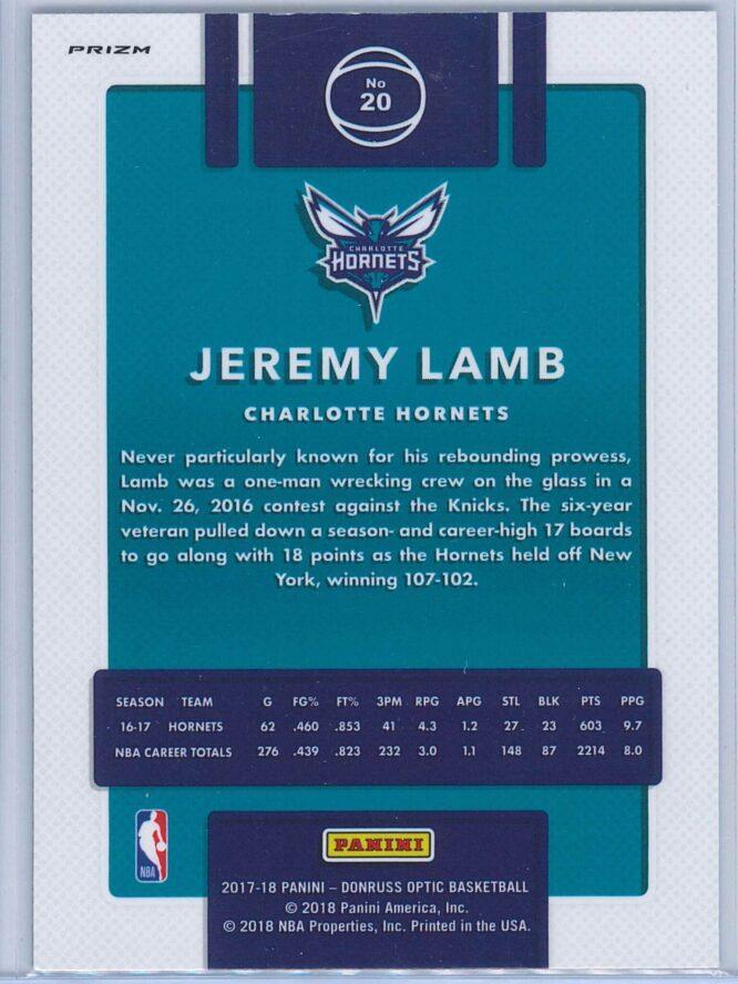 Jeremy Lamb Panini Donruss Optic Basketball 2017 18 Purple 2