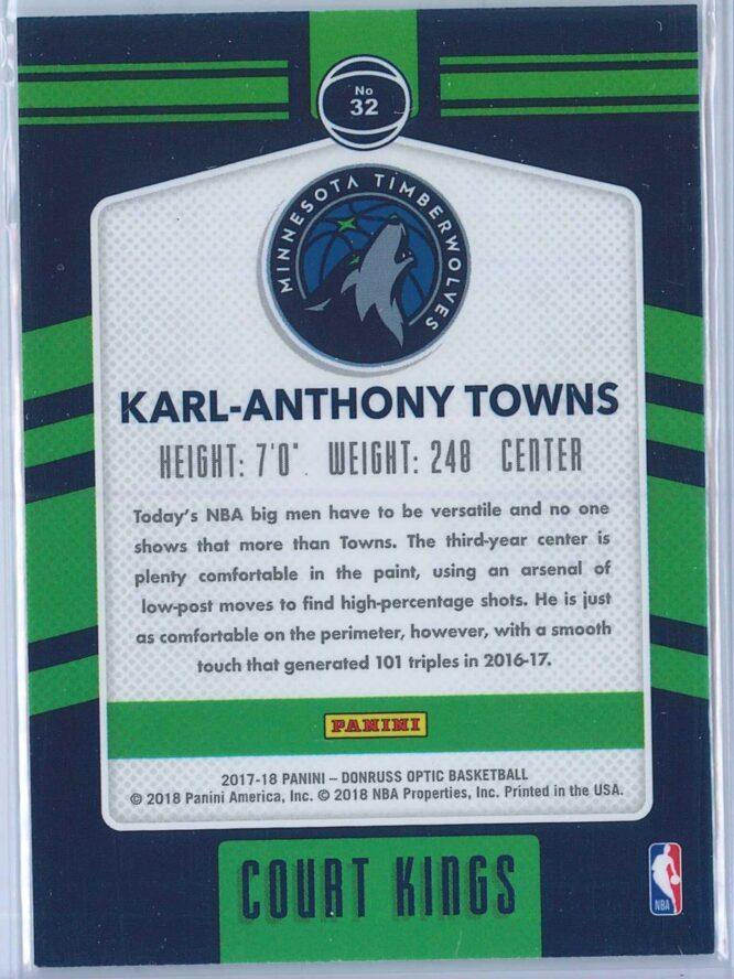 Karl Anthony Towns Panini Donruss Optic Basketball 2017 18 Court Kings 2