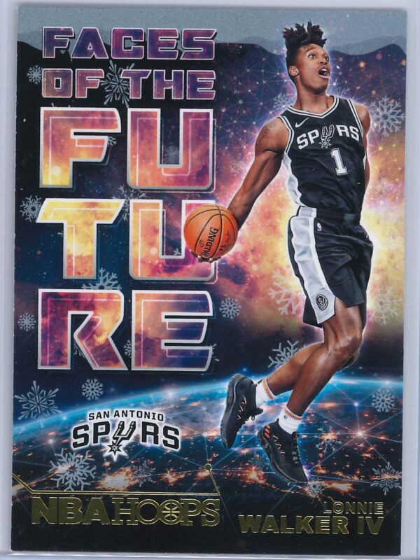 Lonnie Walker IV Panini NBA Hoops Basketball 2018-19 Faces Of The Future Gold  Winter Edition