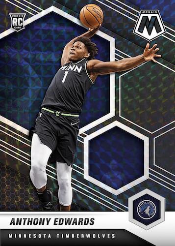 2020 21 Panini Mosaic Basketball NBA Cards Base Mosaic Rookies Black Anthony Edwards RC
