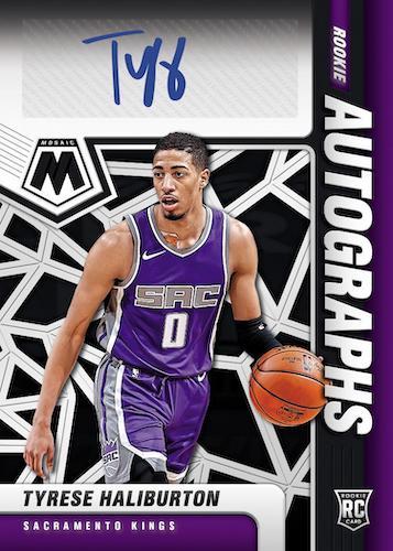 2020 21 Panini Mosaic Basketball NBA Cards Rookie Autographs Mosaic Black Tyrese Haliburton RC