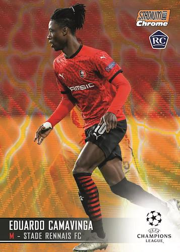 2020 21 Topps Stadium Club Chrome UEFA Champions League Soccer Cards Base Orange Yellow Electric Wave Refractor Eduardo Camavinga RC