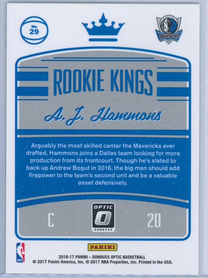 A.J. Hammons Panini Donruss Optic Basketball 2016 17 Rookie Kings RY 2