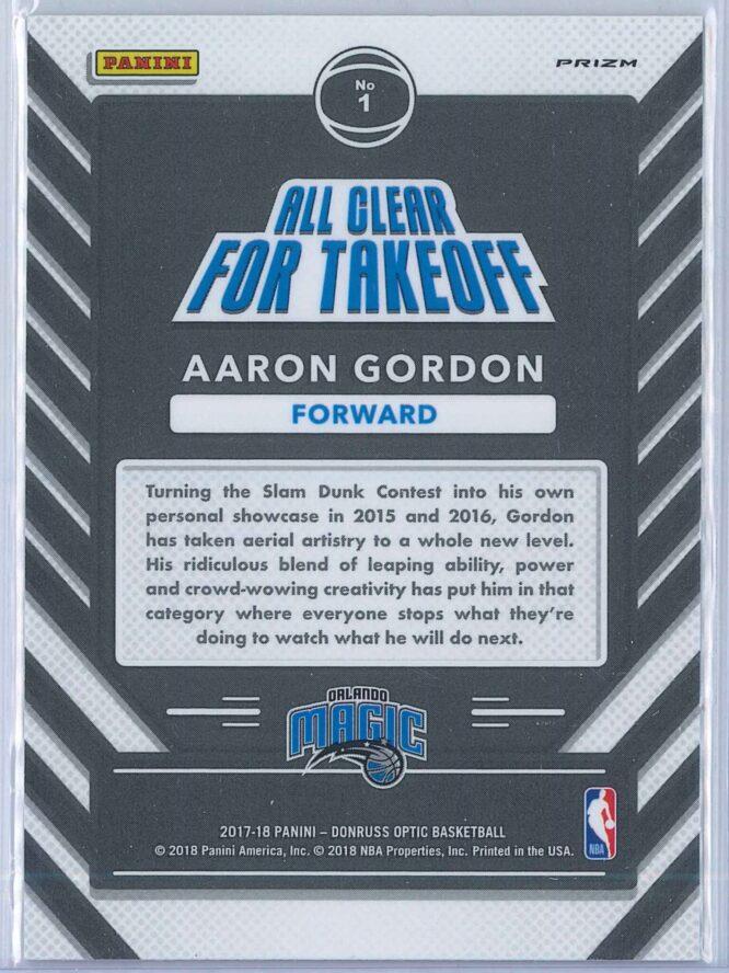Aaron Gordon Panini Donruss Optic Basketball 2017 18 All Clear For Takeoff Fast Break Holo 2