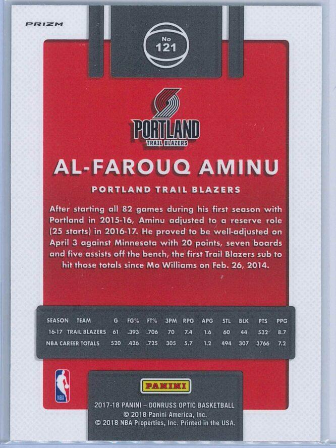 Al Farouq Aminu Panini Donruss Optic Basketball 2017 18 Fast Break Holo Prizm 2