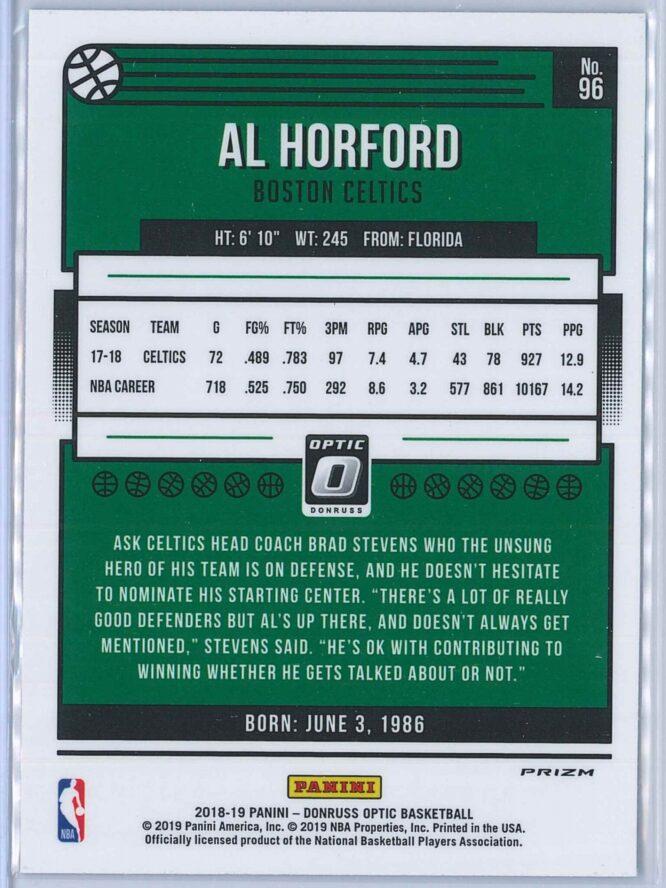 Al Horford Panini Donruss Optic Basketball 2018 19 Blue Velocity Prizm 2