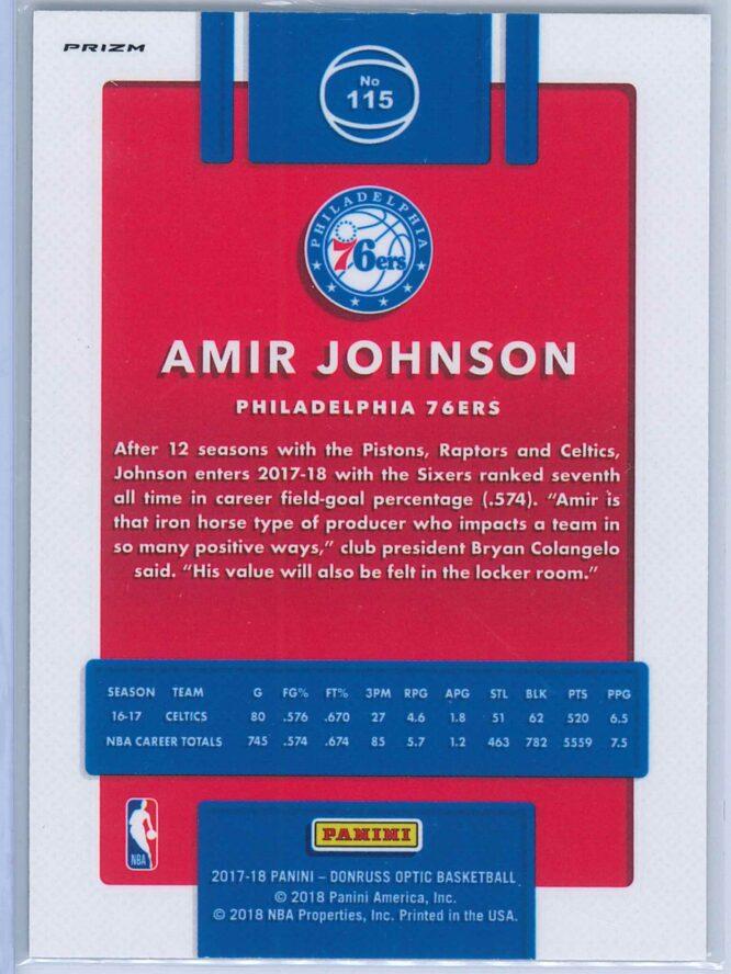 Amir Johnson Panini Donruss Optic Basketball 2017 18 Holo Prizm 2