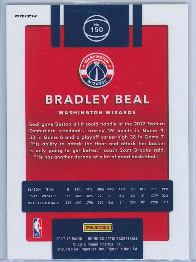 Bradley Beal Panini Donruss Optic Basketball 2017 18 Fast Break Holo Prizm 2