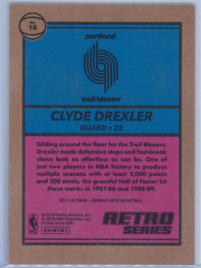 Clyde Drexler Panini Donruss Optic Basketball 2017 18 Retro Series 2