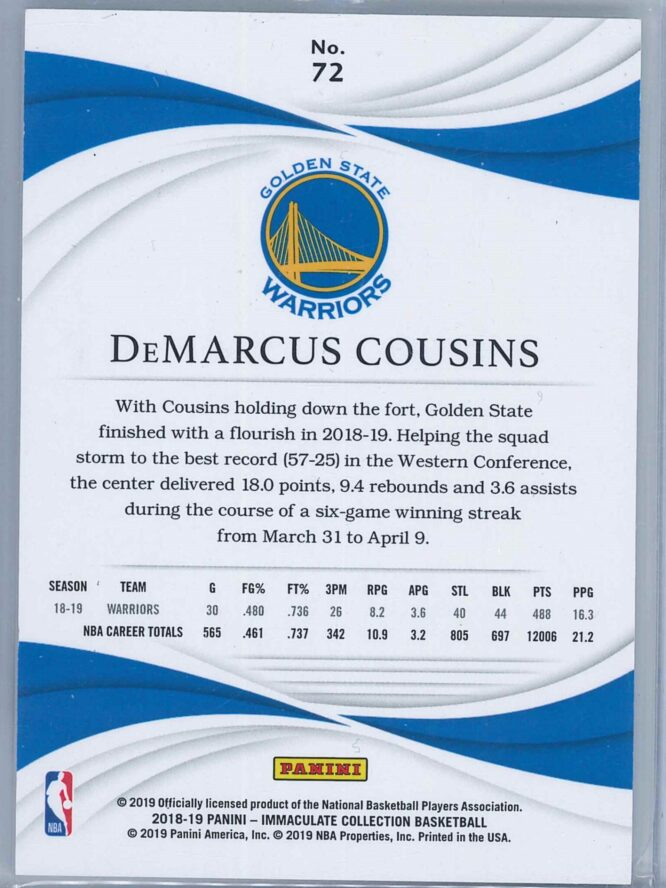 DeMarcus Cousins Panini Immaculate Collection 2018 19 4199 2