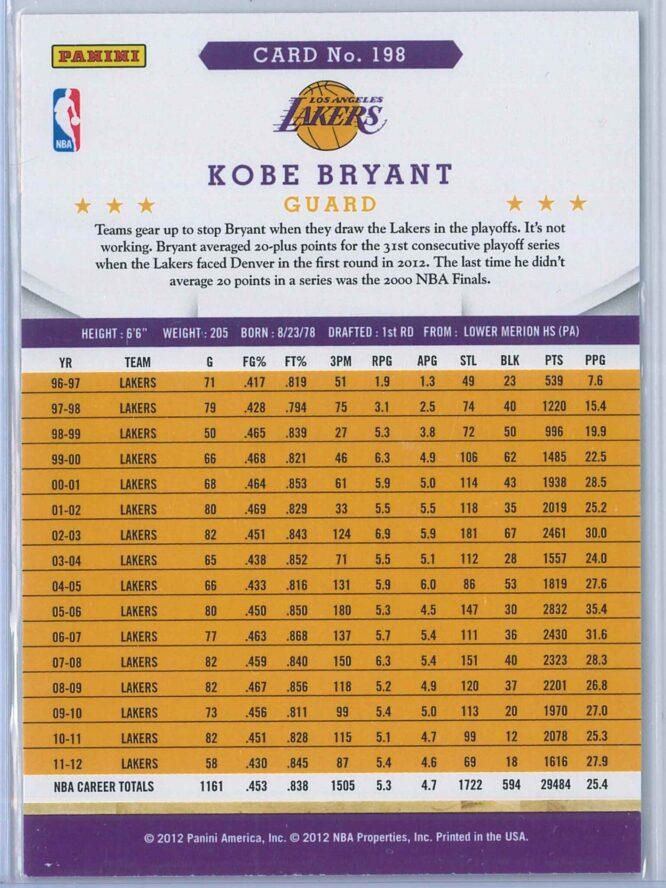 Kobe Bryant Panini NBA Hoops 2012 13 2