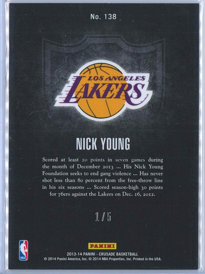 Nick Young Panini Crusade 2013 14 Green 15 2